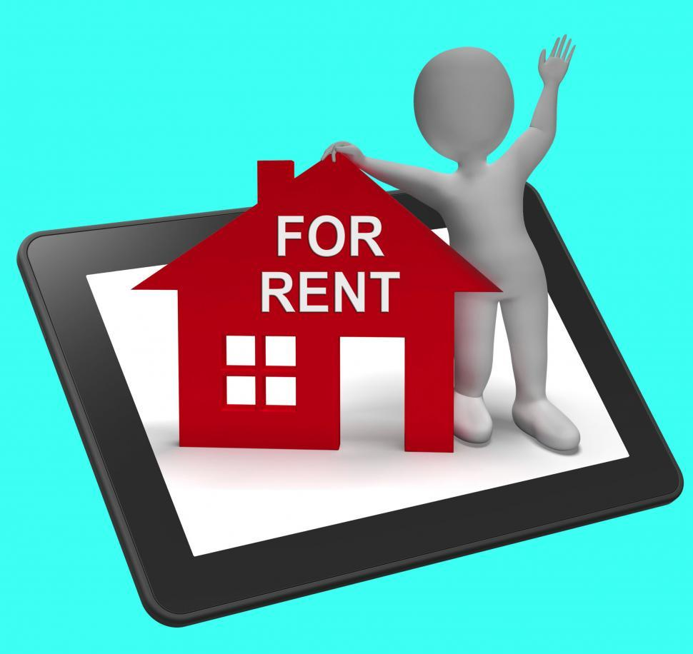 Download Free Stock HD Photo of For Rent House Tablet Shows Rental Or Lease Property Online