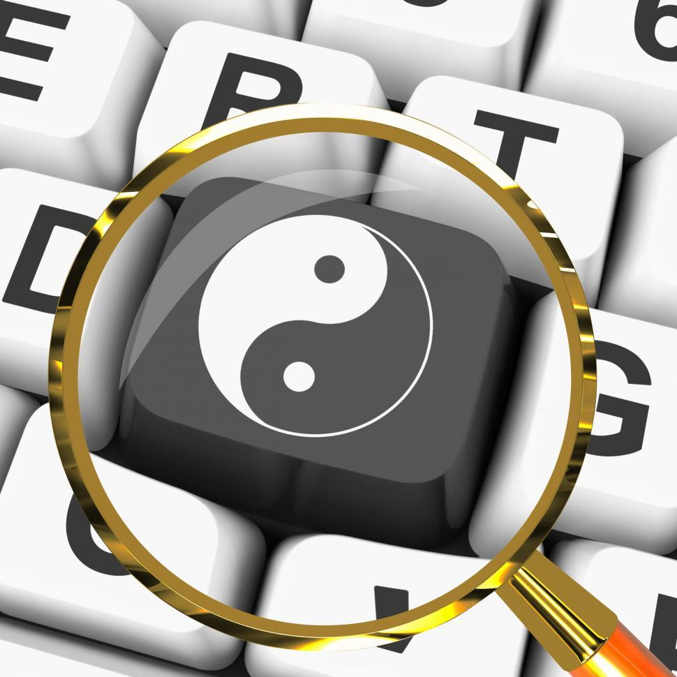 Download Free Stock HD Photo of Ying Yang Key Magnified Means Spiritual Peace Harmony Online