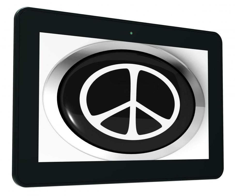 Download Free Stock HD Photo of Peace Sign Tablet Shows Love Not War Online