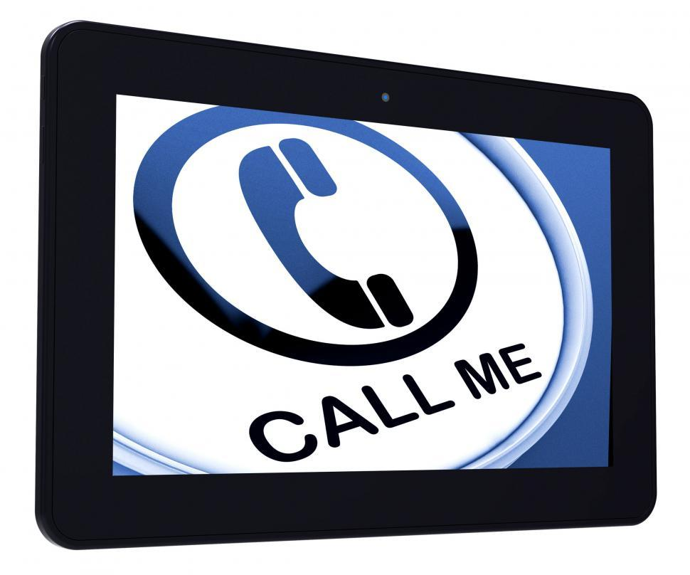 Download Free Stock HD Photo of Call Me Tablet Shows Talk or Chat Online