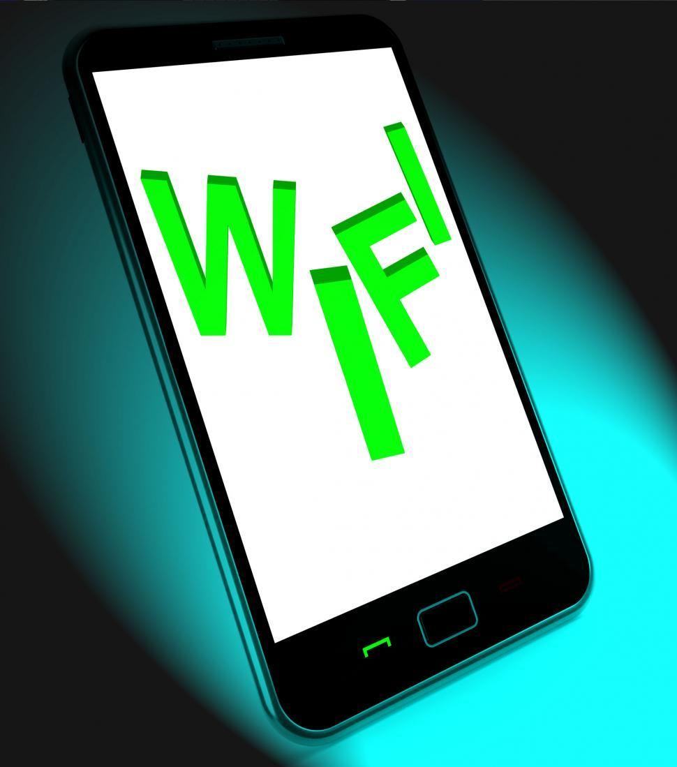 Download Free Stock HD Photo of Wifi On Mobile Shows Internet Hotspot Wi-fi Access Or Connection Online
