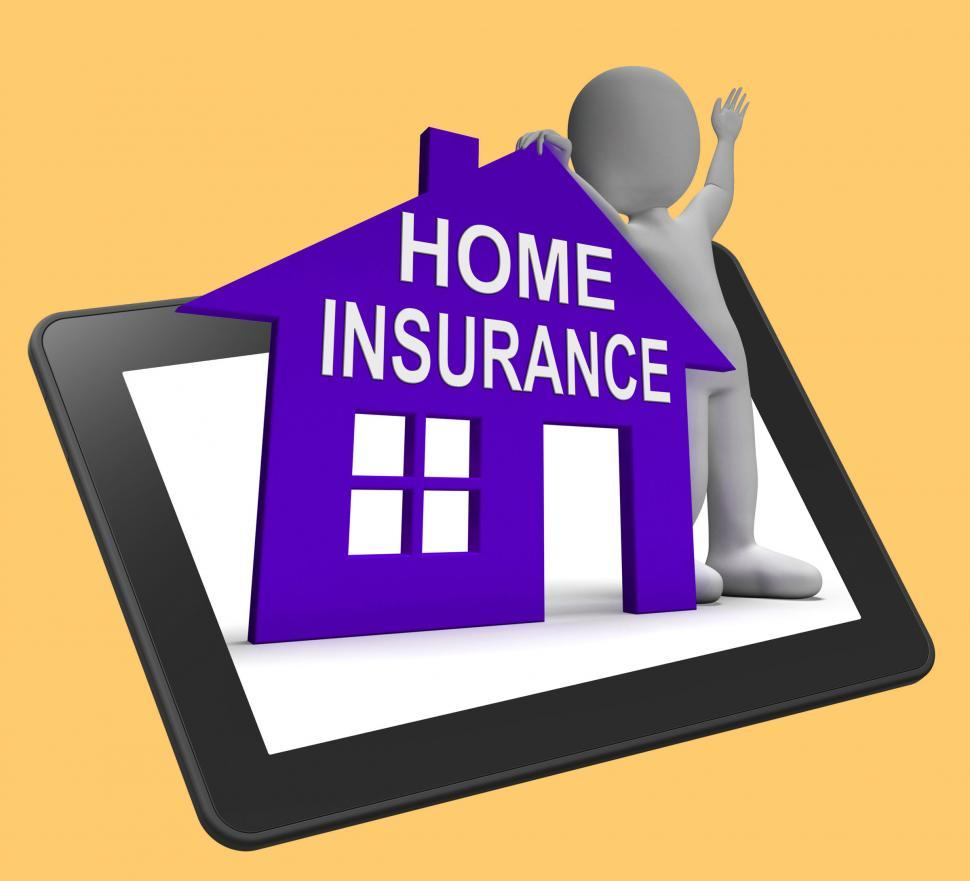 Download Free Stock HD Photo of Home Insurance House Tablet Means Insuring Property Online