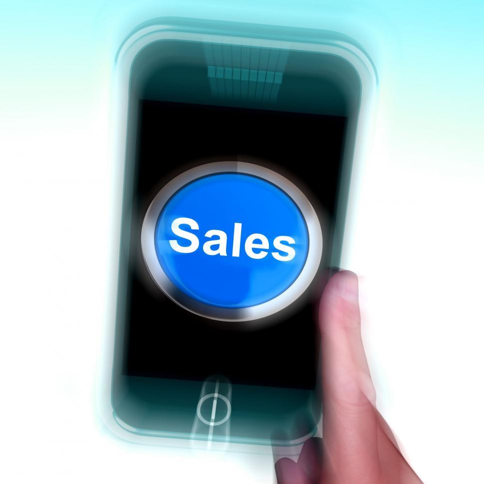 Download Free Stock HD Photo of Sales On Mobile Phone Shows Promotions And Deals Online