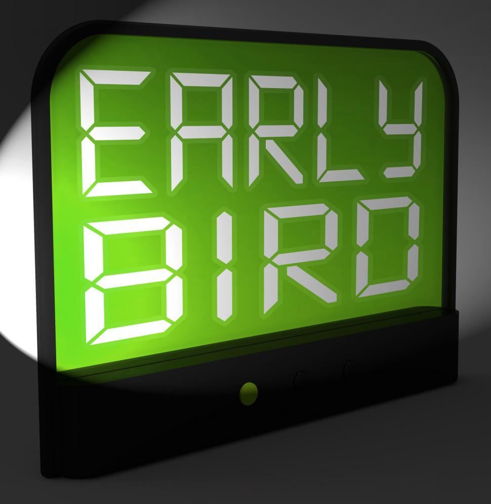 Download Free Stock HD Photo of Early Bird Digital Clock Shows Punctuality Or Ahead Of Schedule Online