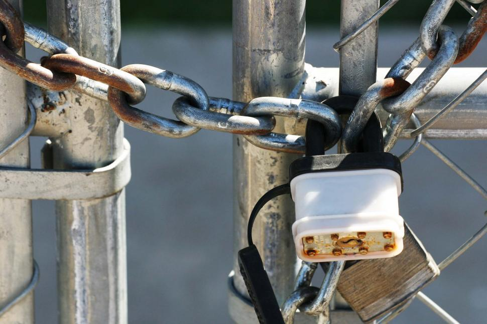 Download Free Stock HD Photo of Padlock on chain Online