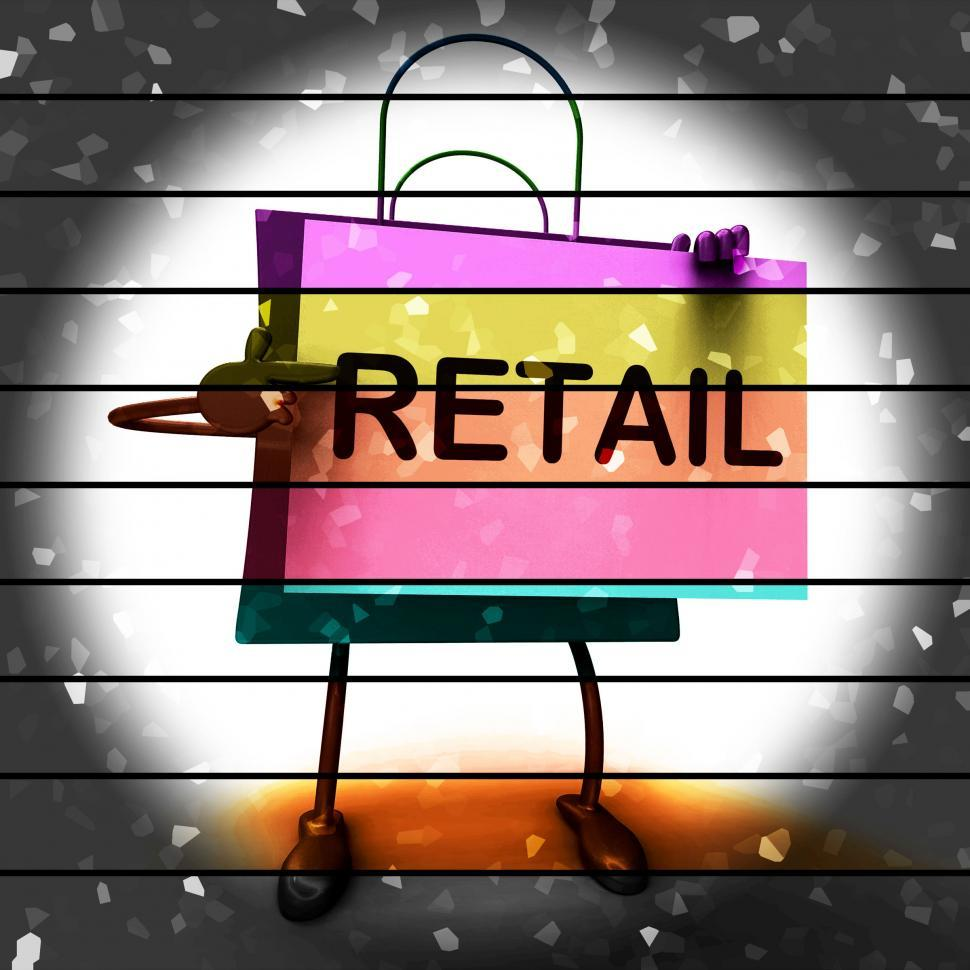 Retail Shopping Bag Shows Consumer Selling Or Sales