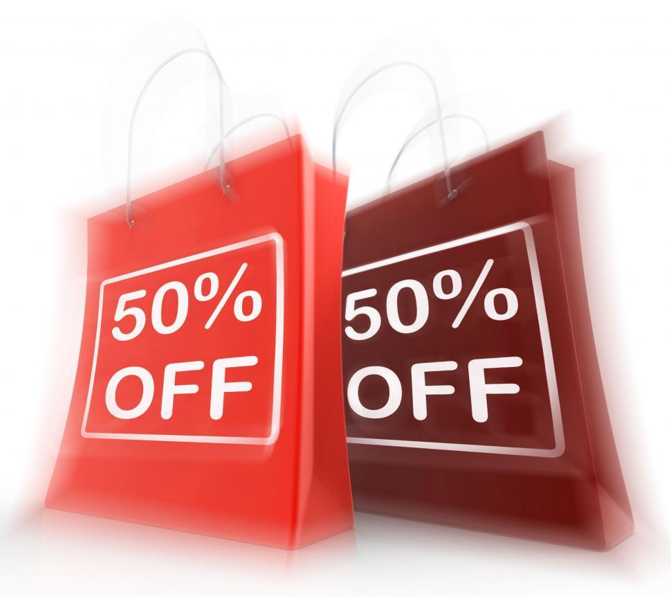Download Free Stock HD Photo of Fifty Percent Off On Bags Shows 50 Bargains Online