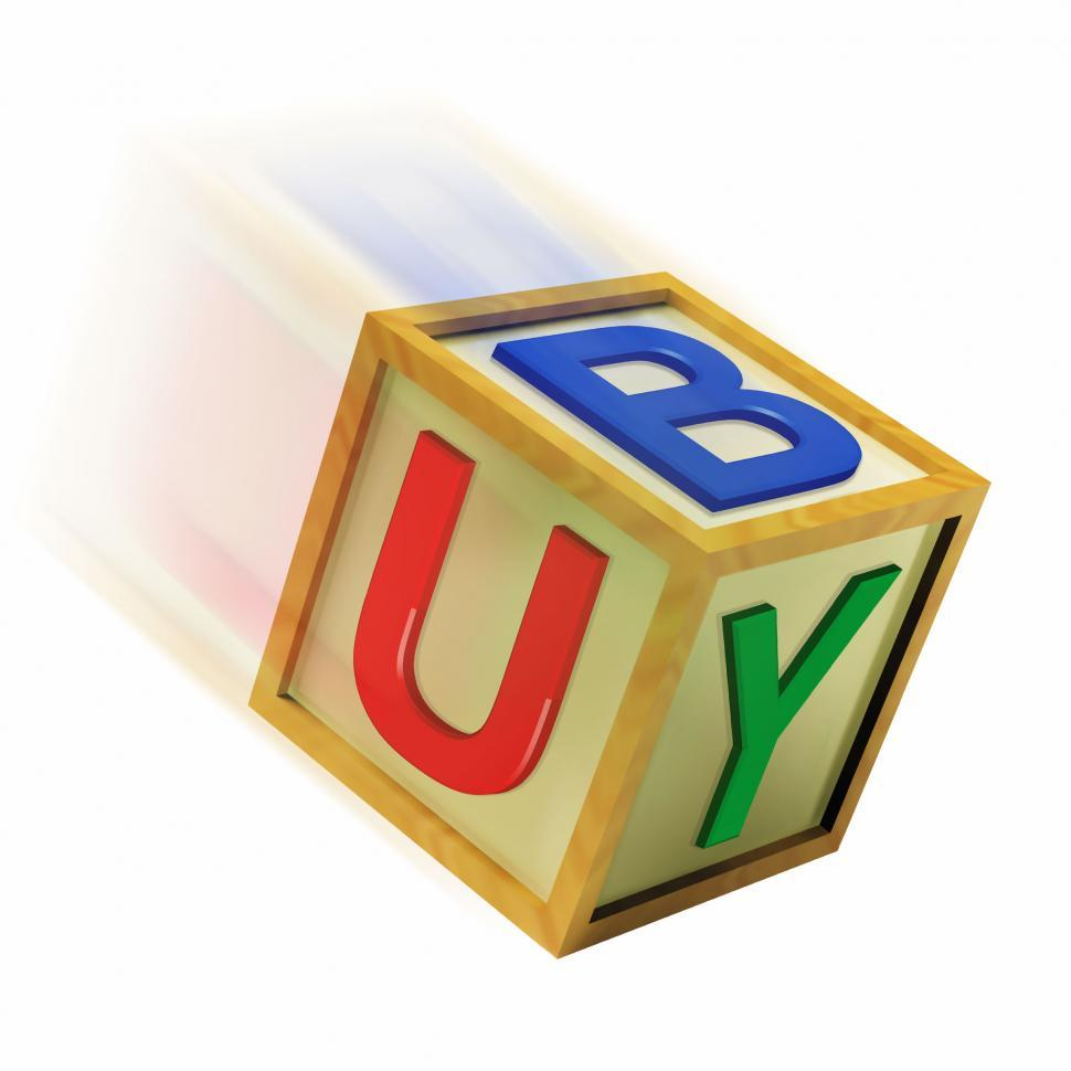 Download Free Stock HD Photo of Buy Wooden Block Means Retail Shopping And Commerce Online