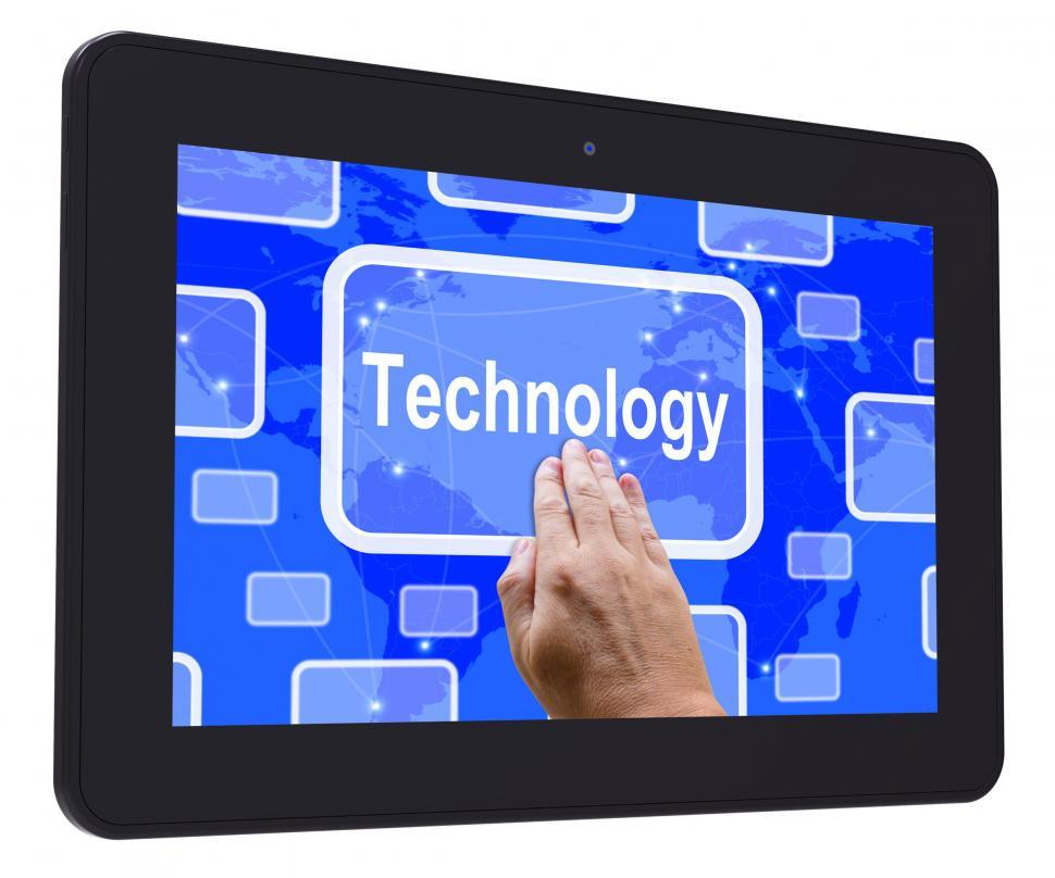 Download Free Stock HD Photo of Technology Tablet Touch Screen Shows Innovation Improvement And  Online