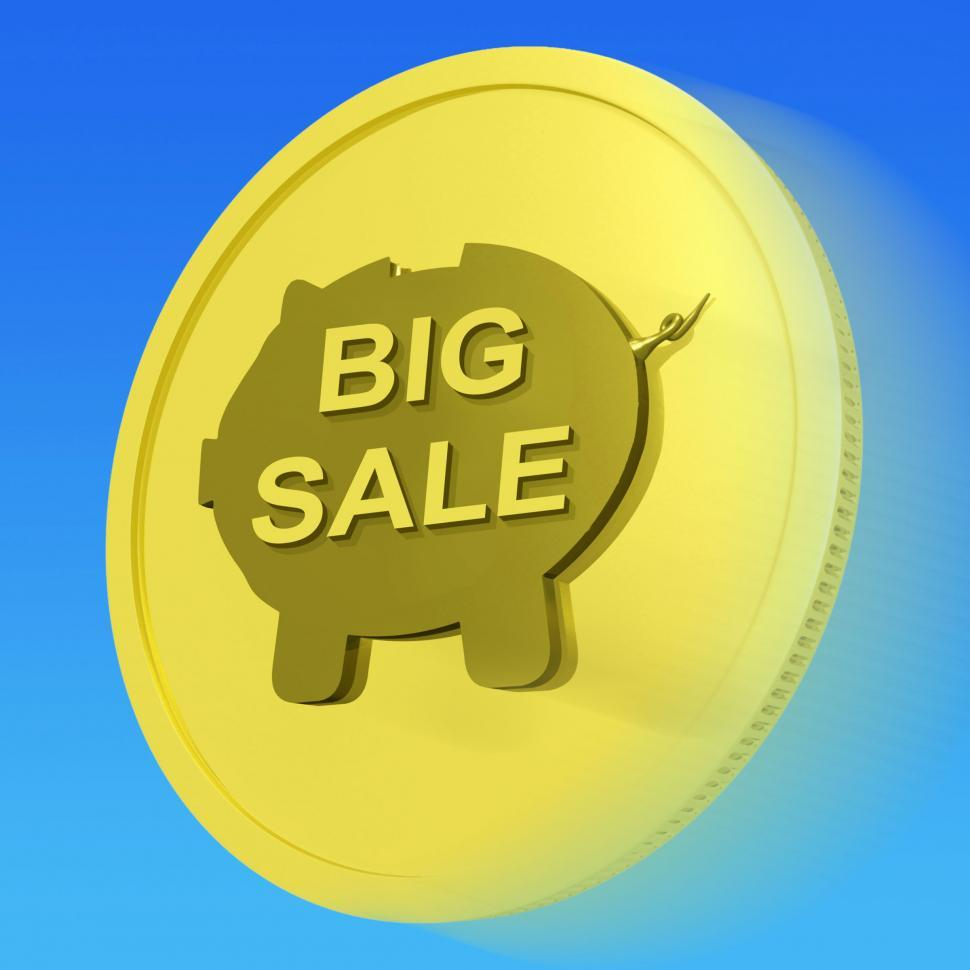Download Free Stock HD Photo of Big Sale Gold Coin Means Huge Money Savings Online