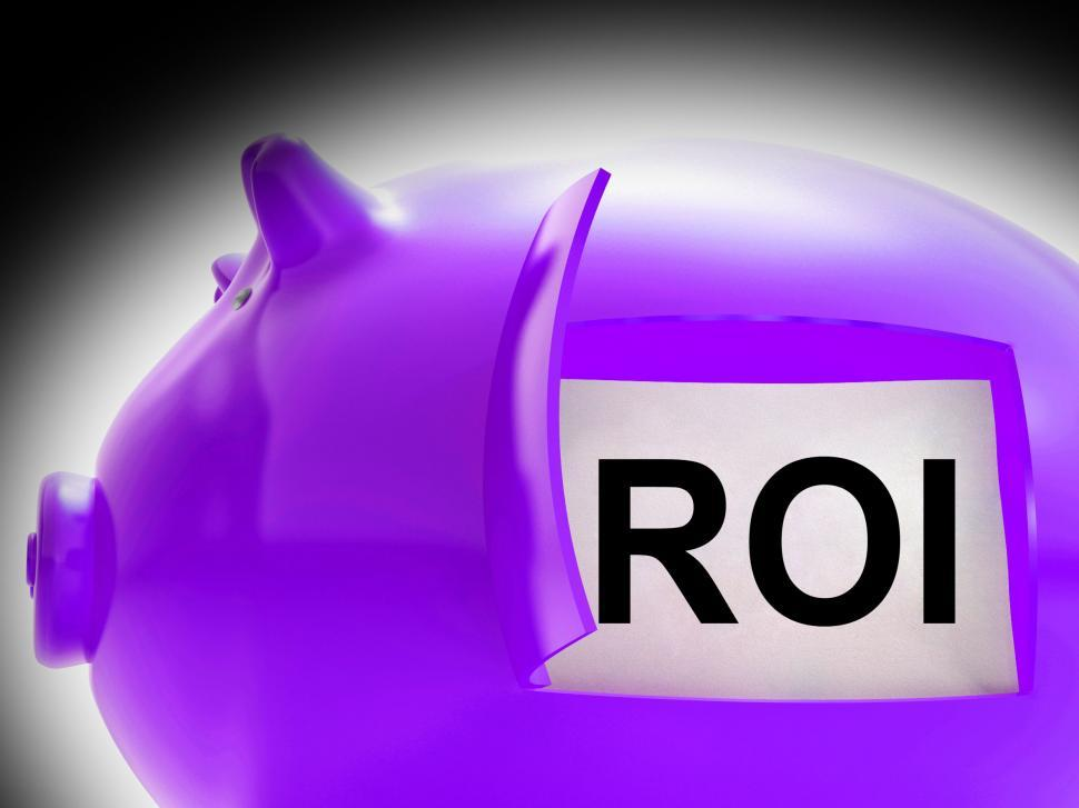 Download Free Stock HD Photo of ROI Piggy Bank Coins Shows Return On Investment Online