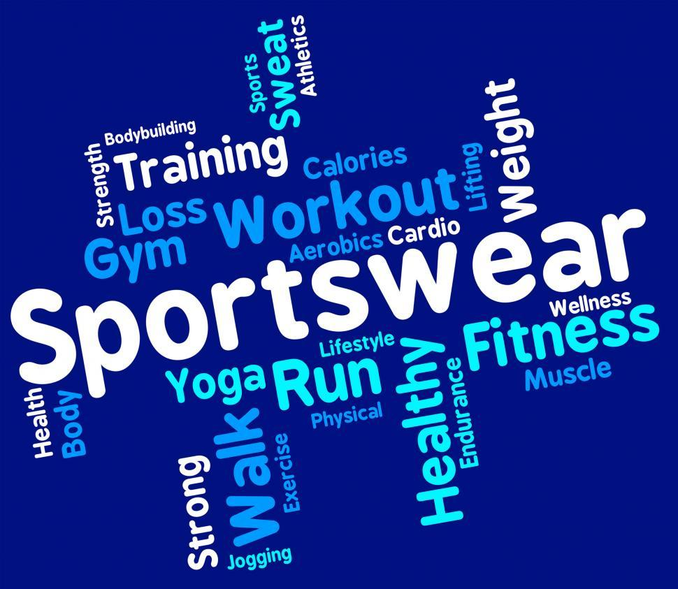 Download Free Stock HD Photo of Sportswear Word Indicates Text Sweaters And Wordcloud Online