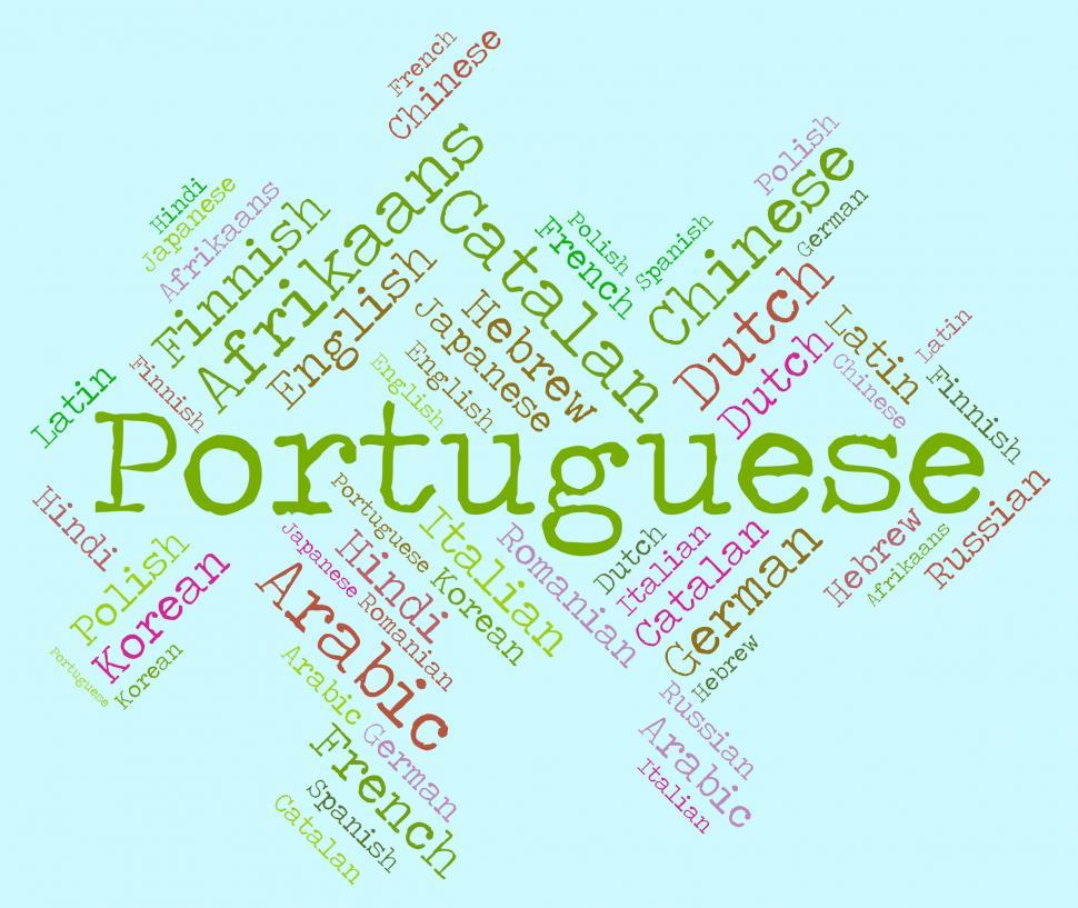 Download Free Stock HD Photo of Portuguese Language Shows Communication Vocabulary And Text Online