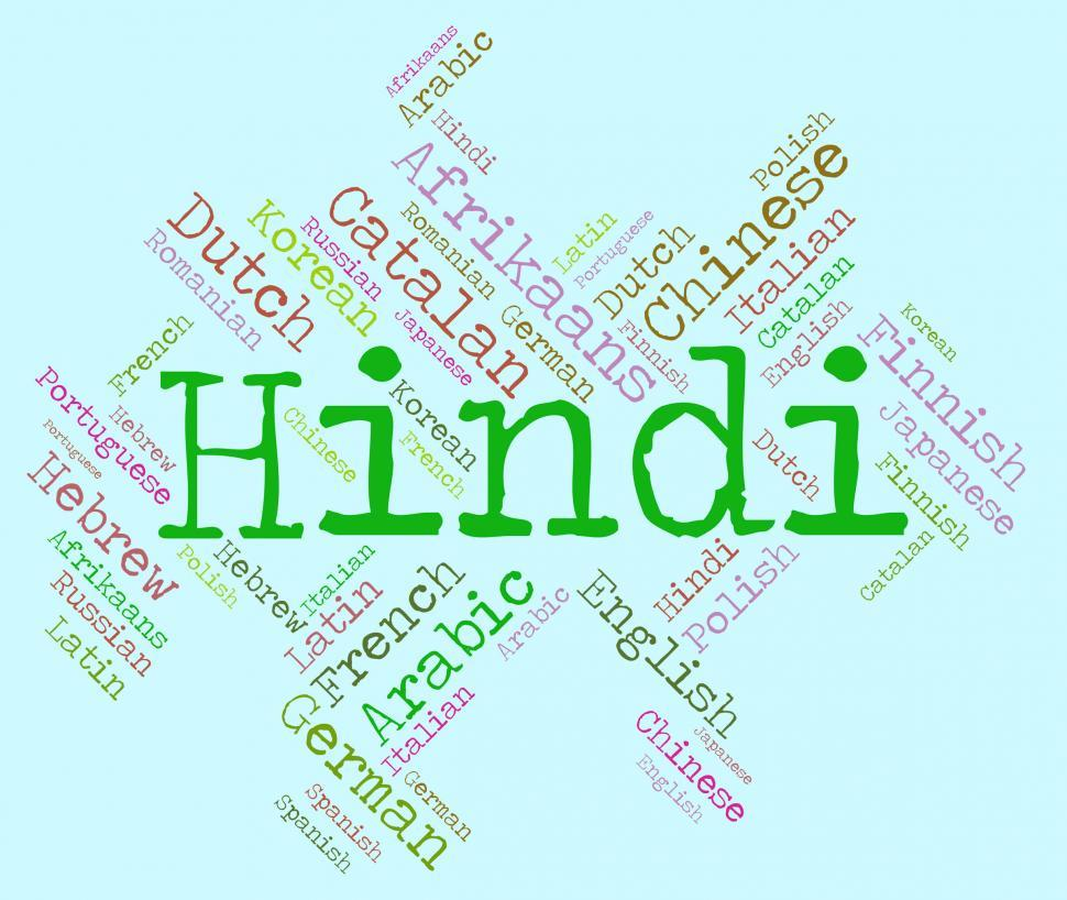 Download Free Stock HD Photo of Hindi Language Shows Vocabulary Word And Communication Online