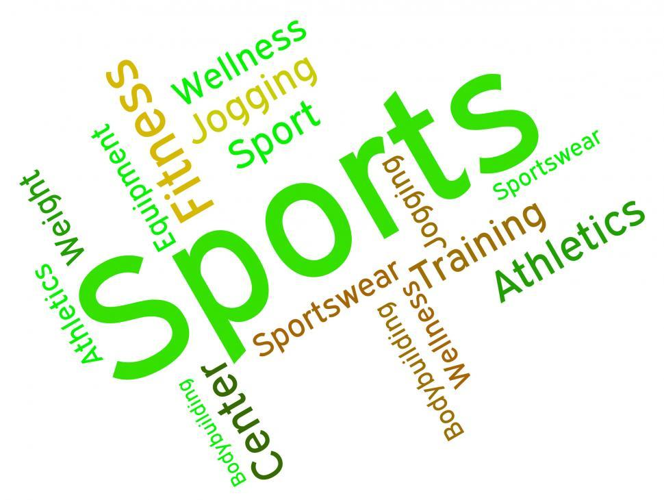Download Free Stock HD Photo of Sports Word Shows Physical Activity And Exercising Online