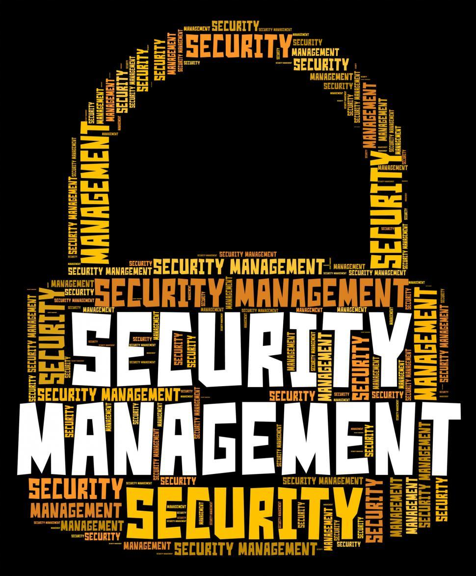 Download Free Stock HD Photo of Security Management Represents Secured Wordcloud And Organizatio Online