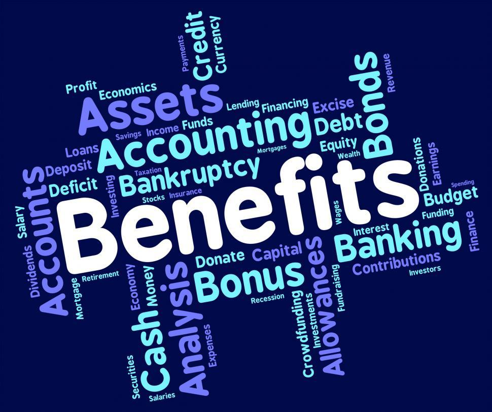 Download Free Stock HD Photo of Benefits Word Shows Pay Text And Perk Online