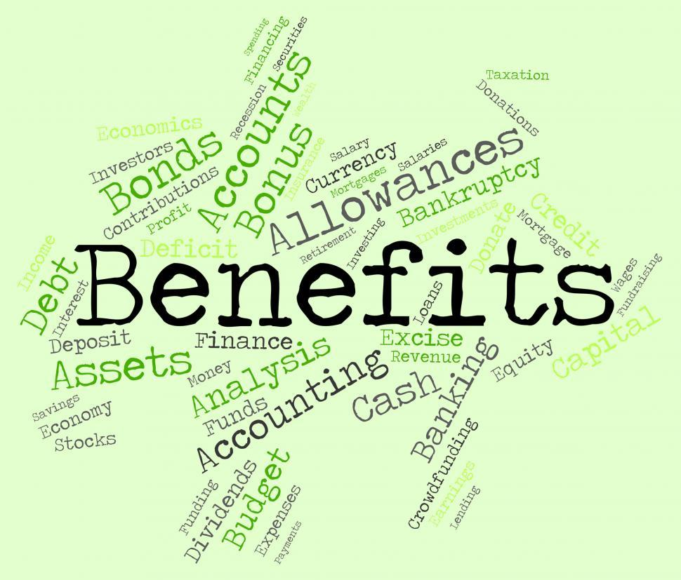 Download Free Stock HD Photo of Benefits Word Indicates Reward Words And Wordcloud Online