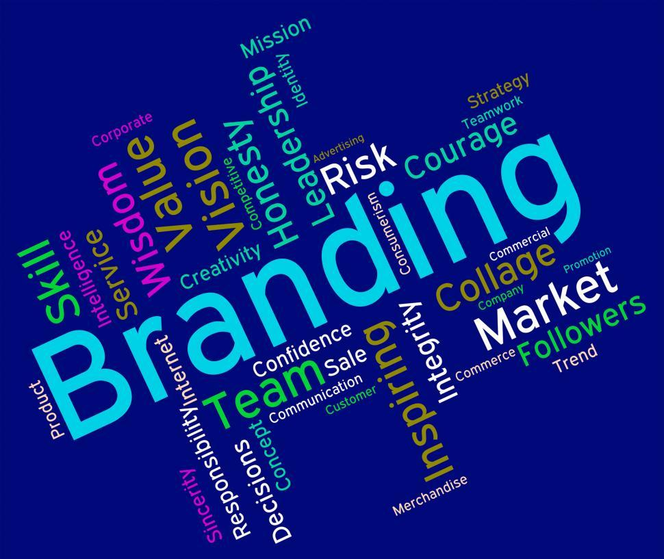 Download Free Stock HD Photo of Branding Words Shows Company Identity And Branded Online