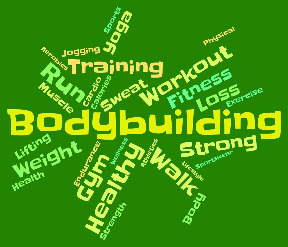 Download Free Stock HD Photo of Bodybuilding Word Shows Workout Equipment And Active Online