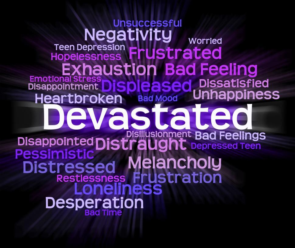 Download Free Stock HD Photo of Devastated Word Indicates Stunned Traumatize And Overcome Online