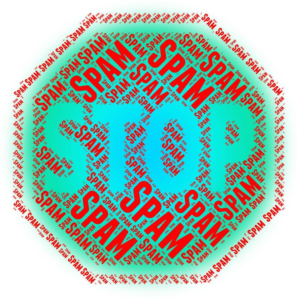 Download Free Stock HD Photo of Stop Spam Shows Unwanted Restriction And Caution Online