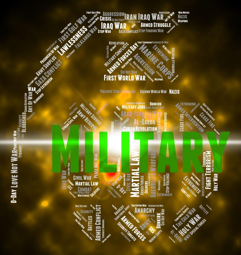 Download Free Stock HD Photo of Military Word Indicates Wordcloud Soldierly And Warrior Online