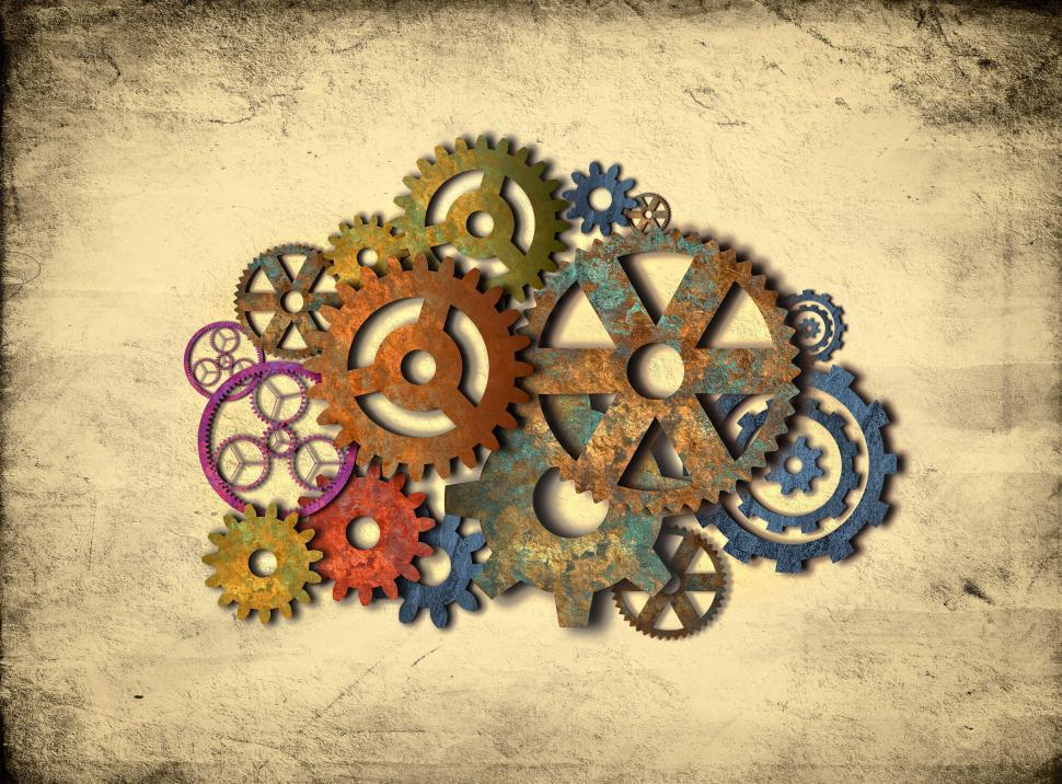 Download Free Stock HD Photo of Retro Rusty Colorful Cogwheels Online