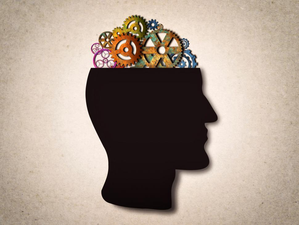 Download Free Stock HD Photo of Thinking - Cogwheels on The Head Online