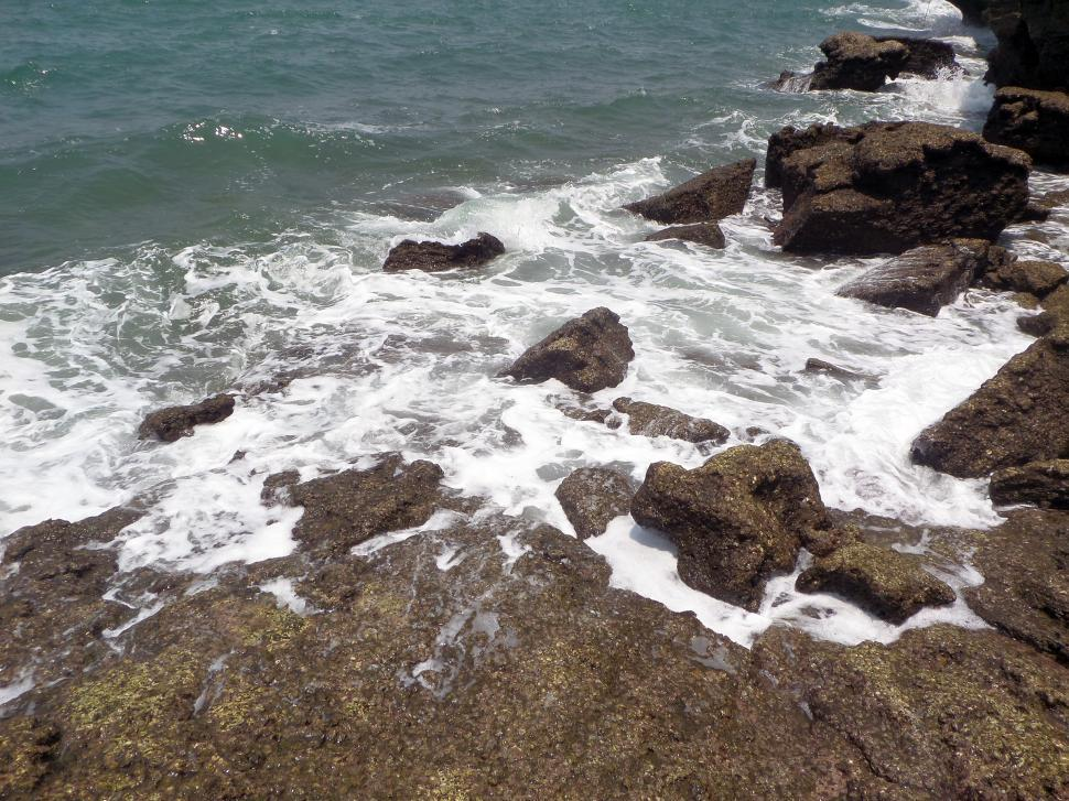 Download Free Stock HD Photo of Crashing waves on rocks Online