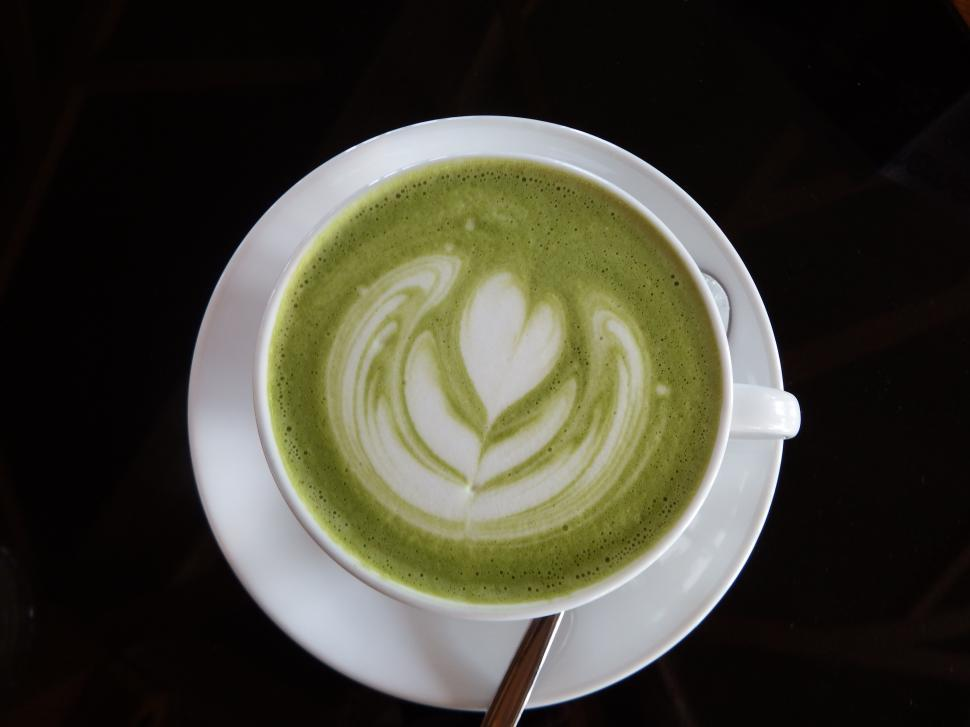 Download Free Stock HD Photo of Hot Green Tea with Heart Art  Online
