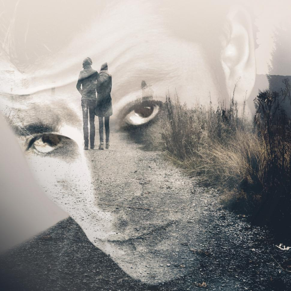 Download Free Stock HD Photo of Man remembering his girlfriend - Double Exposure Effect Online
