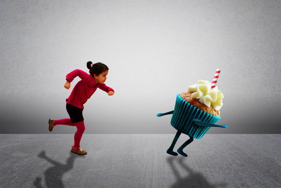 Download Free Stock HD Photo of Child Chasing Cupcake - Healthy Diet versus Child Obesity Online