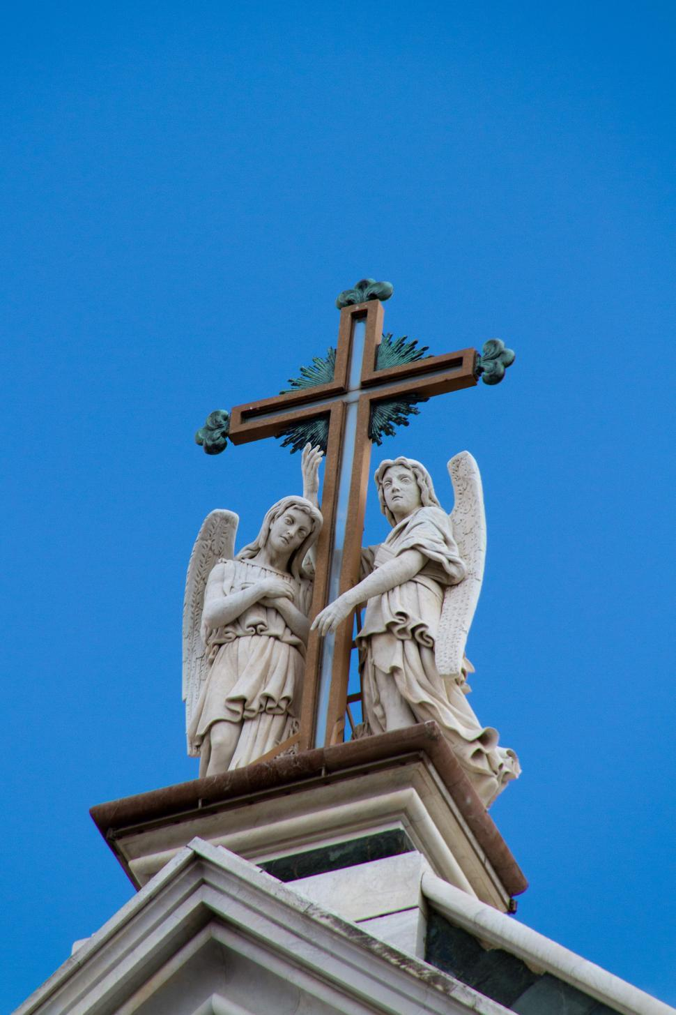 Download Free Stock HD Photo of  Statues on top of Church Online