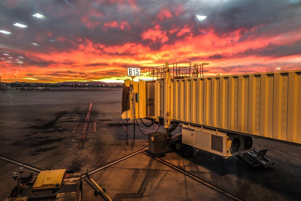 Download Free Stock HD Photo of Airport Sunset Online