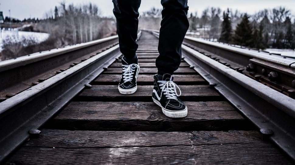 Download Free Stock HD Photo of Walking on the train tracks Online