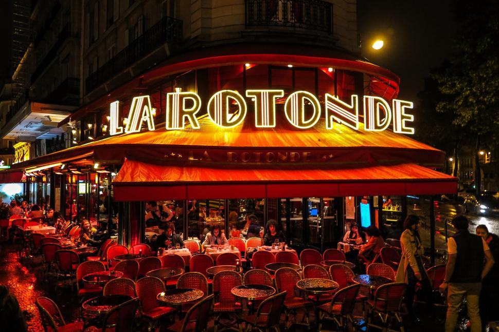 Download Free Stock HD Photo of Paris restaurant at night Online