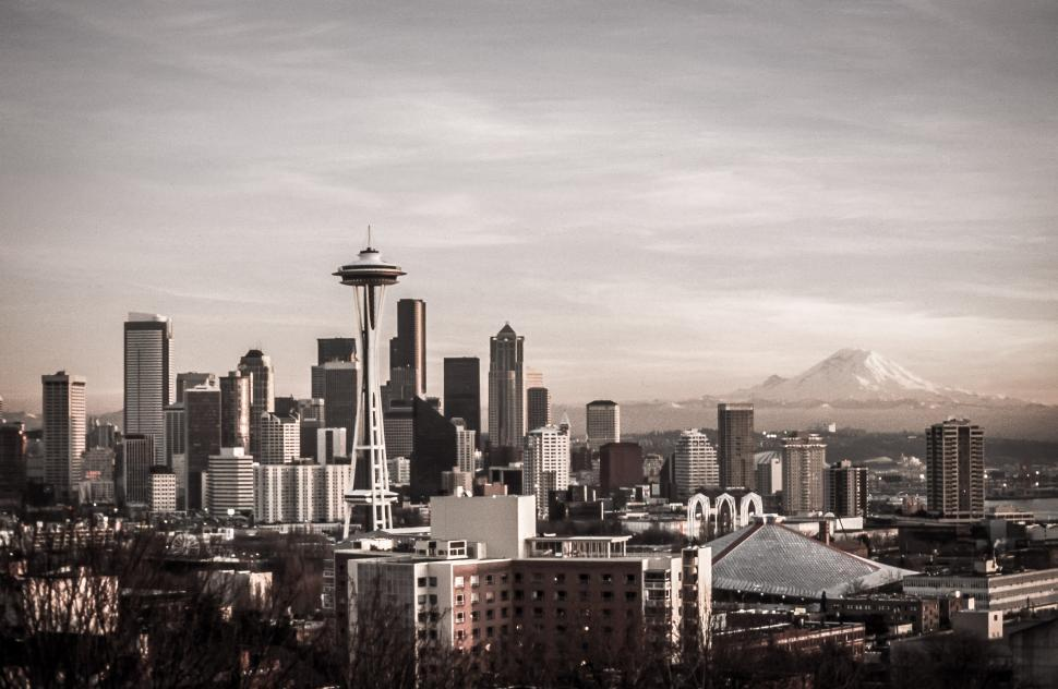 Download Free Stock HD Photo of Seattle Skyline and Mt. Rainier Online