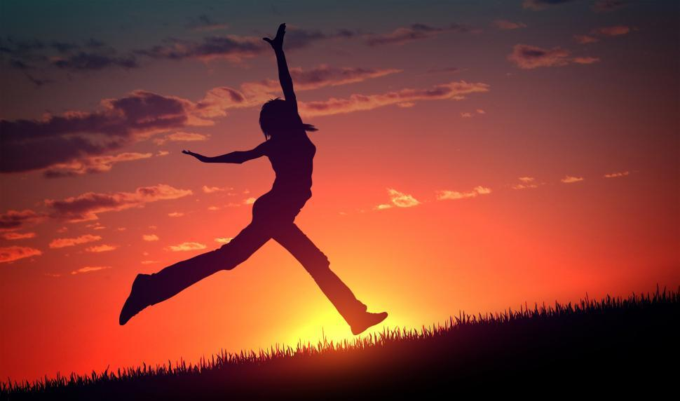 Download Free Stock HD Photo of Joy and Happiness - Young Woman Jumps at Sunset Online