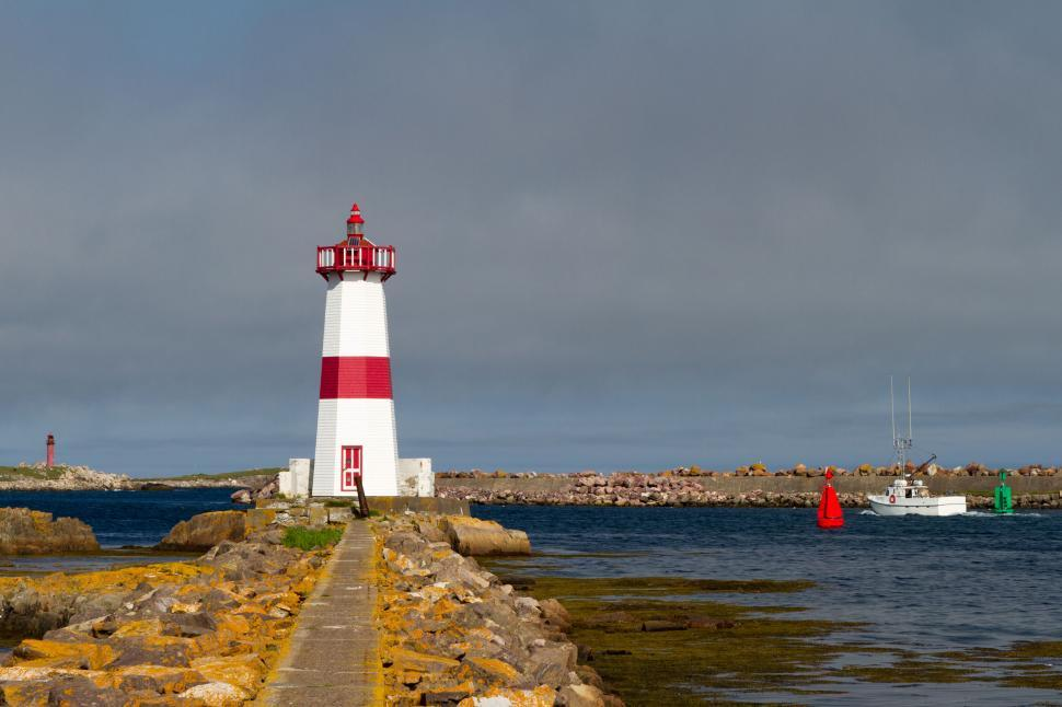 Download Free Stock HD Photo of Red and white Lighthouse Online