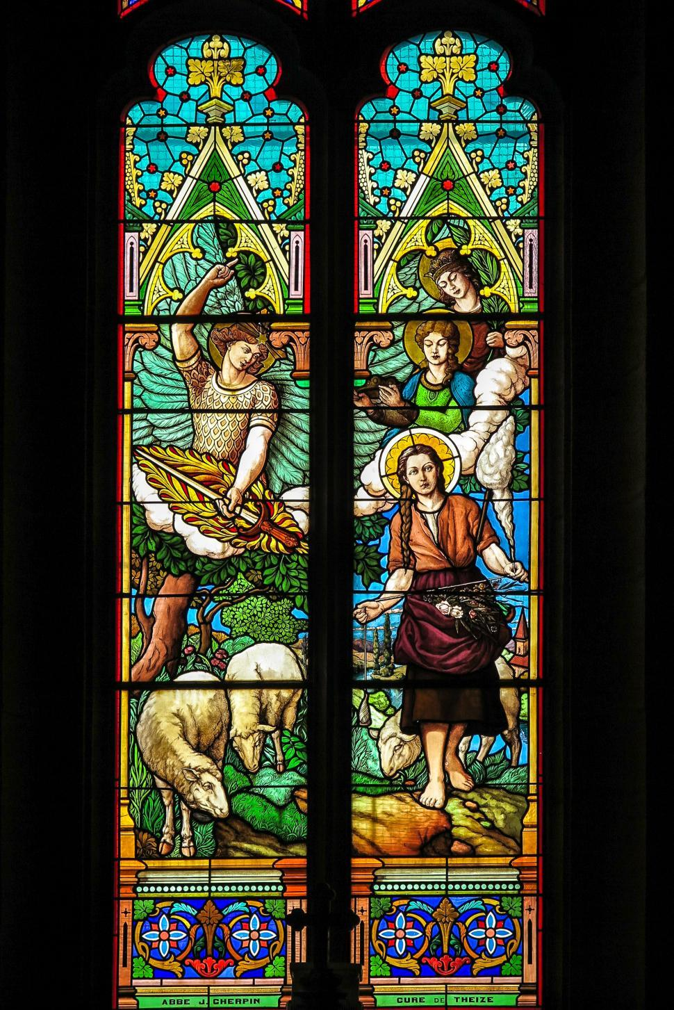 Download Free Stock HD Photo of Pastoral stained glass scene Online