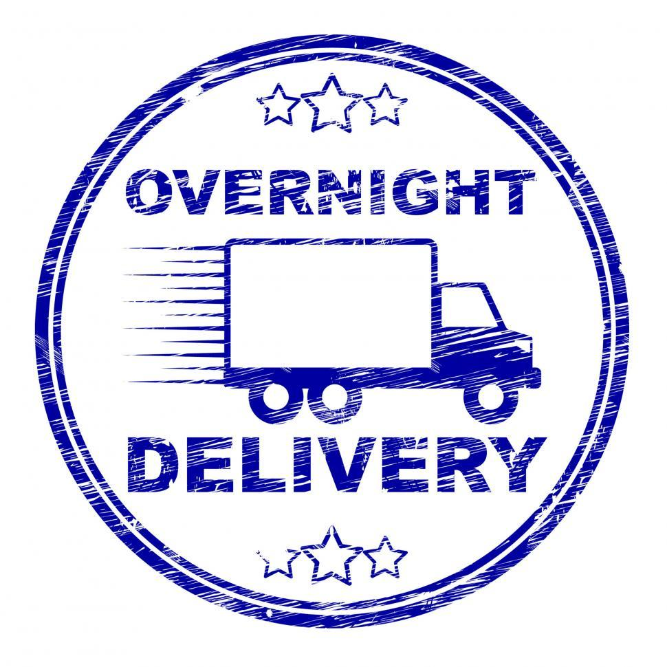 Download Free Stock HD Photo of Overnight Delivery Stamp Shows Next Day And Courier Online