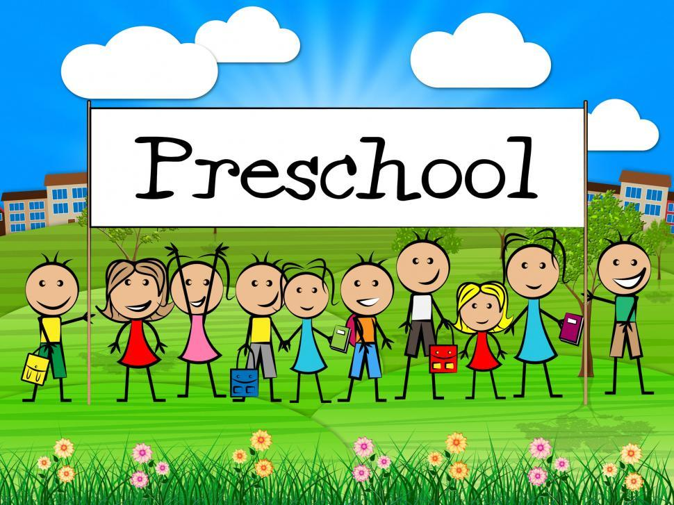 Download Free Stock HD Photo of Preschool Kids Banner Represents Childrens Toddlers And Childhoo Online