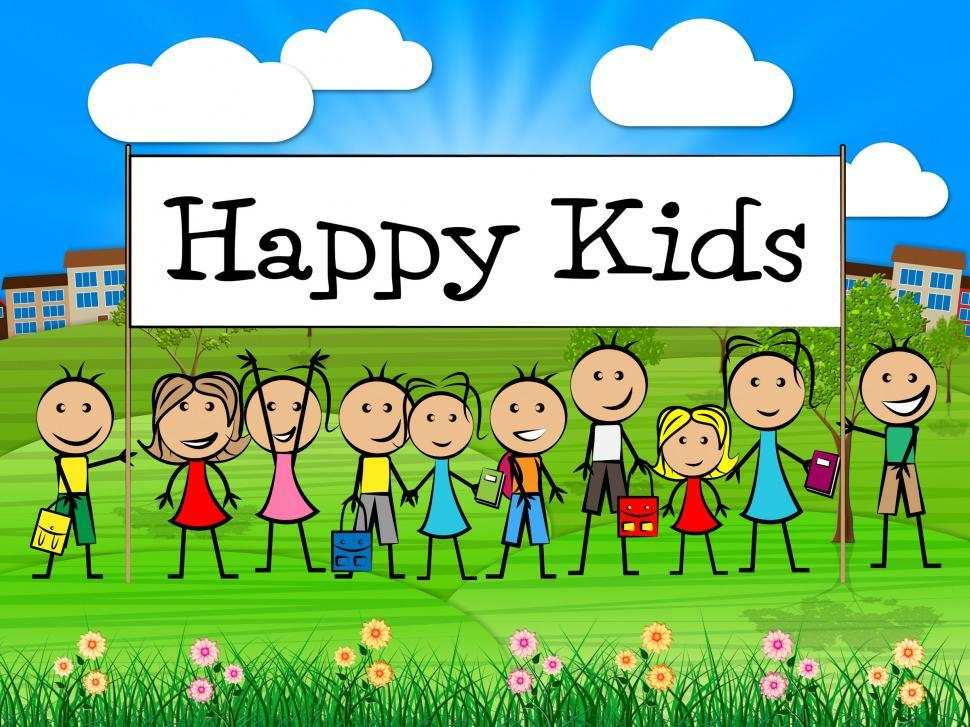 Download Free Stock HD Photo of Happy Kids Banner Shows Childhood Happiness And Toddlers Online