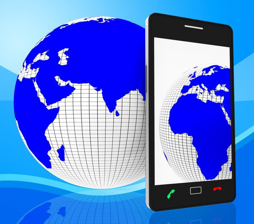 Download Free Stock HD Photo of World Phone Represents Web Site And Cellphone Online
