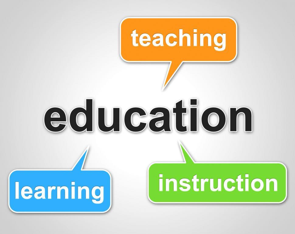 Download Free Stock HD Photo of Education Words Represents Learning Tutoring And Schooling Online