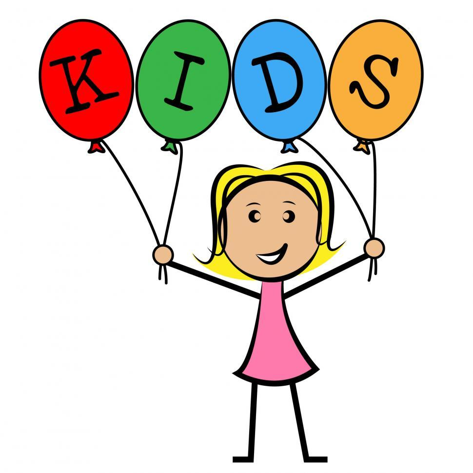 Download Free Stock HD Photo of Kids Balloons Means Young Woman And Youngsters Online