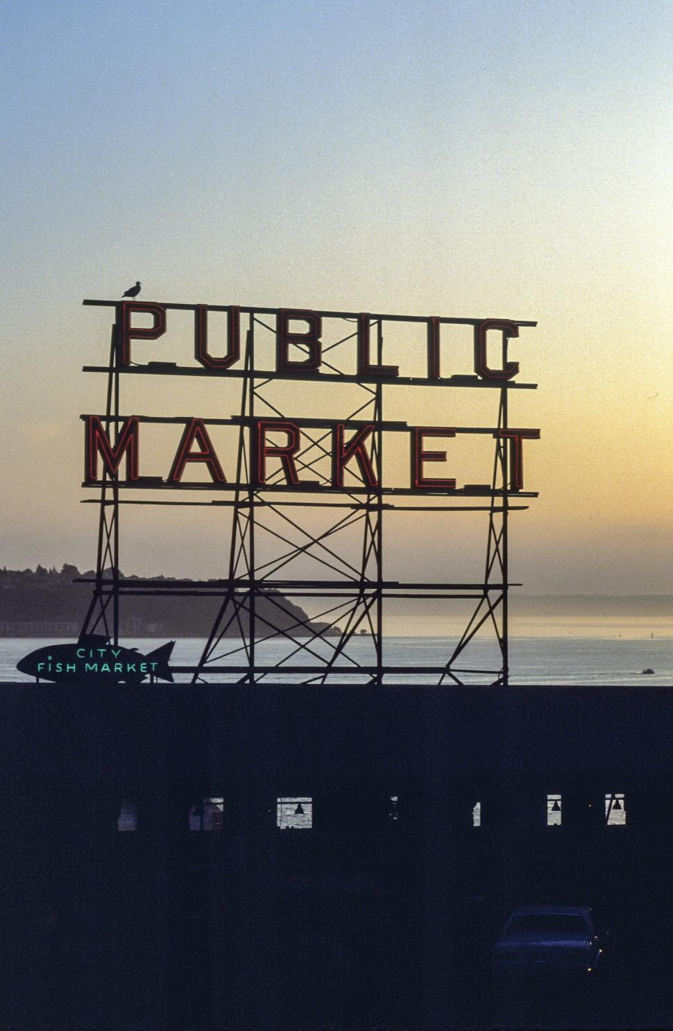 Download Free Stock HD Photo of Public Market Sign silhouette Online