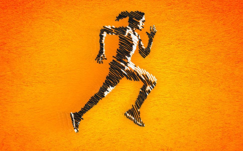 Download Free Stock HD Photo of Born to Run - Female Athlete Sprinting - Ink Drawing-Style Illus Online