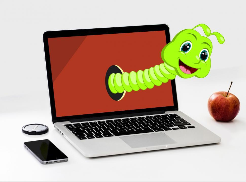 Download Free Stock HD Photo of Imagination and Fantasy on the Virtual World - Worm Cartoon and  Online